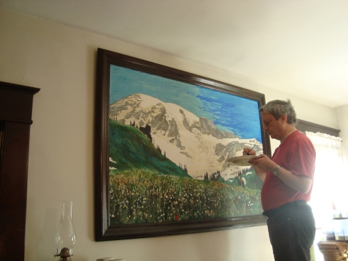 Jeremy does touch-up work on Mt. Rainier.